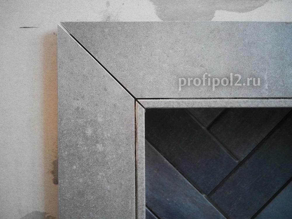 облицовка камина плиткой, откосы